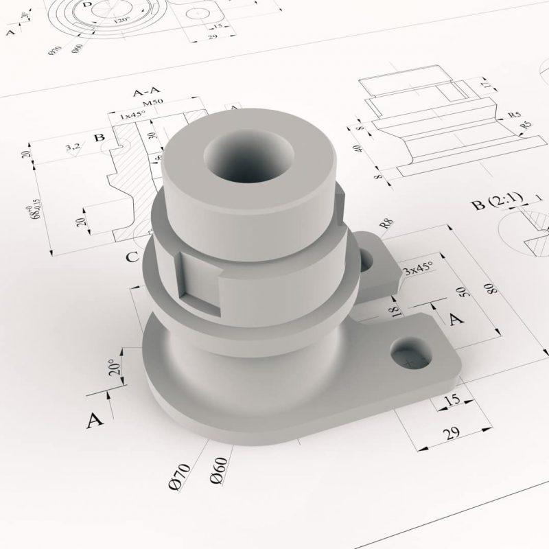 Technische 2D-Detailzeichnung
